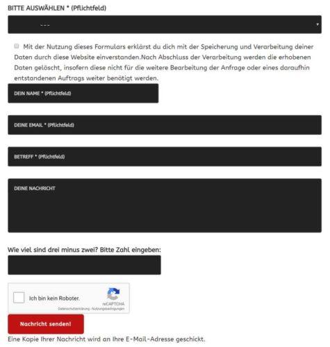 Wordpress Contact 7 Formular