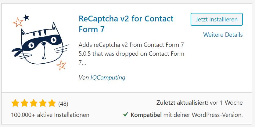 ReCaptcha v2 for Contact Form 7